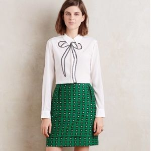 HD in Paris Anthropologie Green flower skirt